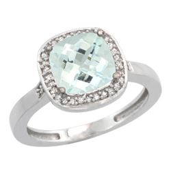 Natural 3.94 ctw Aquamarine & Diamond Engagement Ring 10K White Gold - REF-52W2K