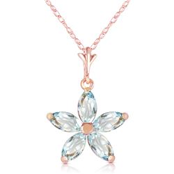 Genuine 1.40 ctw Aquamarine Necklace Jewelry 14KT Rose Gold - REF-30V3W