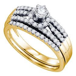 0.51 CTW Diamond Halo Bridal Engagement Ring 14k Yellow Gold - REF-71F9N