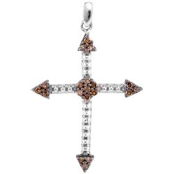 0.15 CTW Cognac-brown Color Diamond Cross Beaded Pendant 10KT White Gold - REF-12Y2X