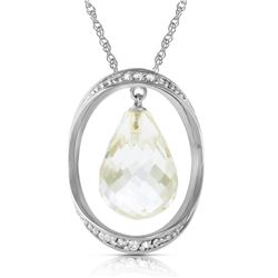 Genuine 11.60 ctw White Topaz & Diamond Necklace Jewelry 14KT White Gold - REF-112P2H