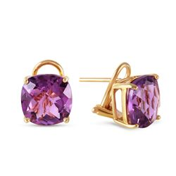 Genuine 7.2 ctw Amethyst Earrings Jewelry 14KT Yellow Gold - REF-46R5P