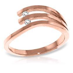 Genuine 0.06 ctw Diamond Anniversary Ring Jewelry 14KT Rose Gold - REF-52P2H