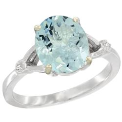 Natural 2.11 ctw Aquamarine & Diamond Engagement Ring 14K White Gold - REF-43W9K