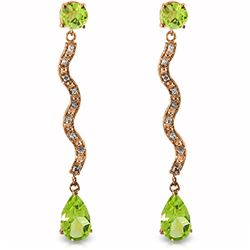 Genuine 4.35 ctw Peridot & Diamond Earrings Jewelry 14KT Rose Gold - REF-62N3R