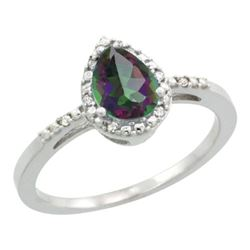 Natural 1.53 ctw mystic-topaz & Diamond Engagement Ring 10K White Gold - REF-18N9G