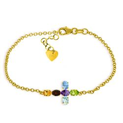 Genuine 1.68 ctw Multi-gemstones Bracelet Jewelry 14KT Yellow Gold - REF-59T8A
