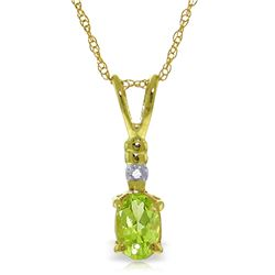 Genuine 0.46 ctw Peridot & Diamond Necklace Jewelry 14KT Yellow Gold - REF-21F6Z