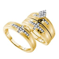 0.33 CTW His & Hers Diamond Cluster Matching Bridal Ring 14KT Yellow Gold - REF-75K2W