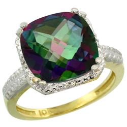 Natural 5.96 ctw Mystic-topaz & Diamond Engagement Ring 10K Yellow Gold - REF-32H4W