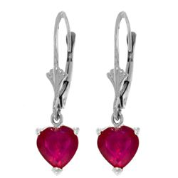 Genuine 2.9 ctw Ruby Earrings Jewelry 14KT White Gold - REF-39T3A