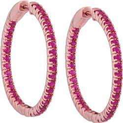 1.75 CTW Ruby Hoop Earrings 14KT Rose Gold - REF-89M9H