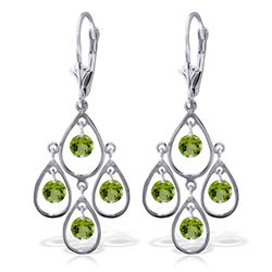 Genuine 2.4 ctw Peridot Earrings Jewelry 14KT White Gold - REF-54X9M