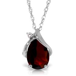 Genuine 2.03 ctw Garnet & Diamond Necklace Jewelry 14KT White Gold - REF-30T5A