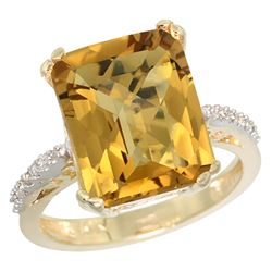 Natural 5.48 ctw Whisky-quartz & Diamond Engagement Ring 10K Yellow Gold - REF-37M8H