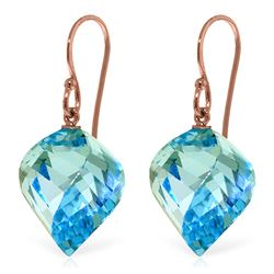 Genuine 27.8 ctw Blue Topaz Earrings Jewelry 14KT Rose Gold - REF-67H5X