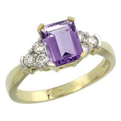 Natural 1.48 ctw amethyst & Diamond Engagement Ring 14K Yellow Gold - REF-52H3W