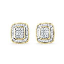 0.25 CTW Diamond Square Cluster Stud Earrings 10KT Yellow Gold - REF-19F4N