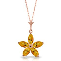 Genuine 1.40 ctw Citrine Necklace Jewelry 14KT Rose Gold - REF-25Y8F