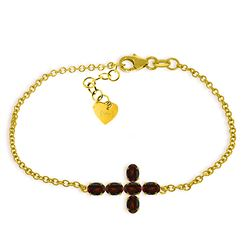 Genuine 1.70 ctw Garnet Bracelet Jewelry 14KT Yellow Gold - REF-59V8W