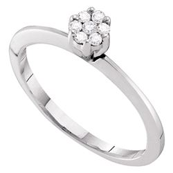 0.12 CTW Diamond Cluster Bridal Engagement Ring 10KT White Gold - REF-13H4M