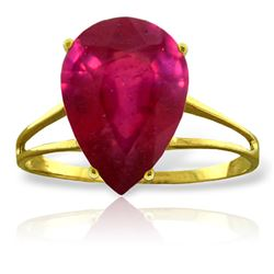 Genuine 5 ctw Ruby Ring Jewelry 14KT Yellow Gold - REF-57Y3F