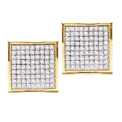 0.90 CTW Pave-set Diamond Square Cluster Earrings 10KT Yellow Gold - REF-30F2N