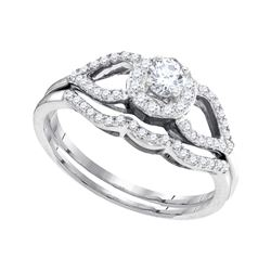 0.38 CTW Diamond Split-shank Bridal Engagement Ring 10KT White Gold - REF-44M9H
