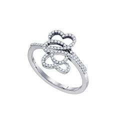 0.20 CTW Diamond Double Heart Ring 10KT White Gold - REF-20M9H