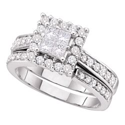 1 CTW Princess Diamond Square Halo Bridal Engagement Ring 14KT White Gold - REF-127X4Y