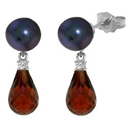 Genuine 6.6 ctw Black Pearl, Garnet & Diamond Earrings Jewelry 14KT White Gold - REF-27X6M