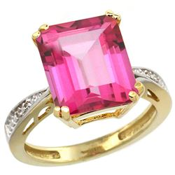 Natural 5.42 ctw Pink-topaz & Diamond Engagement Ring 14K Yellow Gold - REF-61Y9X