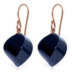 Genuine 30.5 ctw Sapphire Earrings Jewelry 14KT Rose Gold - REF-39V3W