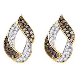 1 CTW Cognac-brown Color Diamond Cluster Earrings 10KT Yellow Gold - REF-52Y4X