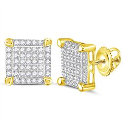 0.25 CTW Mens Diamond Square Cluster Stud Earrings 10KT Yellow Gold - REF-19X4Y