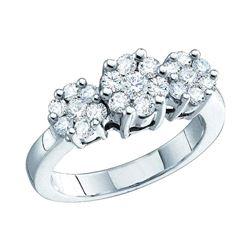 0.25 CTW Diamond Triple Flower Cluster Ring 10KT White Gold - REF-32M9H