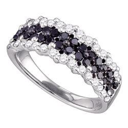 1.1 CTW Black Color Diamond Ring 10KT White Gold - REF-58K4W