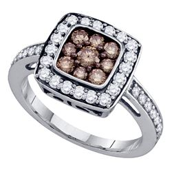 1 CTW Cognac-brown Color Diamond Square Cluster Ring 10KT White Gold - REF-49W5K