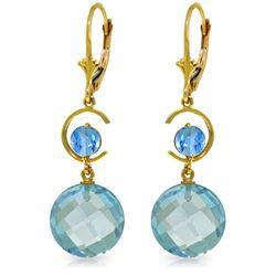 Genuine 11.60 ctw Blue Topaz Earrings Jewelry 14KT Yellow Gold - REF-47R5P