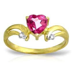 Genuine 0.96 ctw Pink Topaz & Diamond Ring Jewelry 14KT Yellow Gold - REF-42X2M