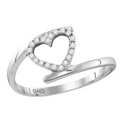 0.12 CTW Diamond Held Heart Love Ring 10KT White Gold - REF-12H8M