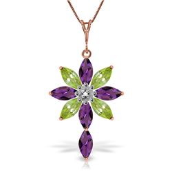 Genuine 2.0 ctw Amethyst, Peridot & Diamond Necklace Jewelry 14KT Rose Gold - REF-47A4K