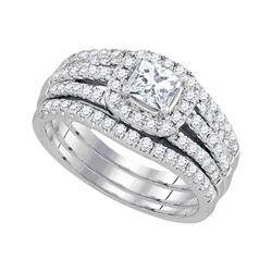 1.24 CTW Princess Diamond Bridal Engagement Ring 14KT White Gold - REF-179K9W