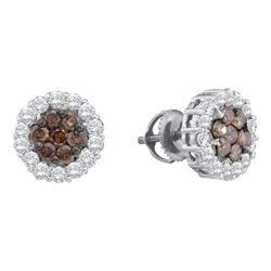 0.75 CTW Cognac-brown Color Diamond Flower Screwback Earrings 14KT White Gold - REF-49F5N
