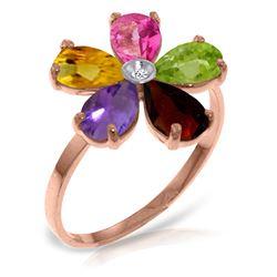 Genuine 2.22 ctw Pink Topaz, Citrine & Amethyst & Diamond Ring Jewelry 14KT Rose Gold - REF-35M9T