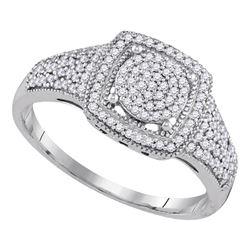 0.33 CTW Diamond Square Cluster Ring 10KT White Gold - REF-30W2K