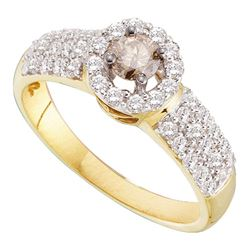 0.75 CTW Cognac-brown Color Diamond Solitaire Halo Bridal Ring 14KT Yellow Gold - REF-82N4F