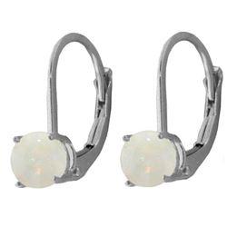 Genuine 0.70 ctw Opal Earrings Jewelry 14KT White Gold - REF-24W3Y