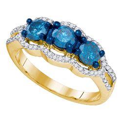 1.2 CTW Diamond 3-stone Bridal Engagement Ring 10KT Yellow Gold - REF-97M4H
