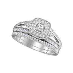 0.52 CTW Princess Diamond Square Halo Bridal Engagement Ring 10KT White Gold - REF-71M9H